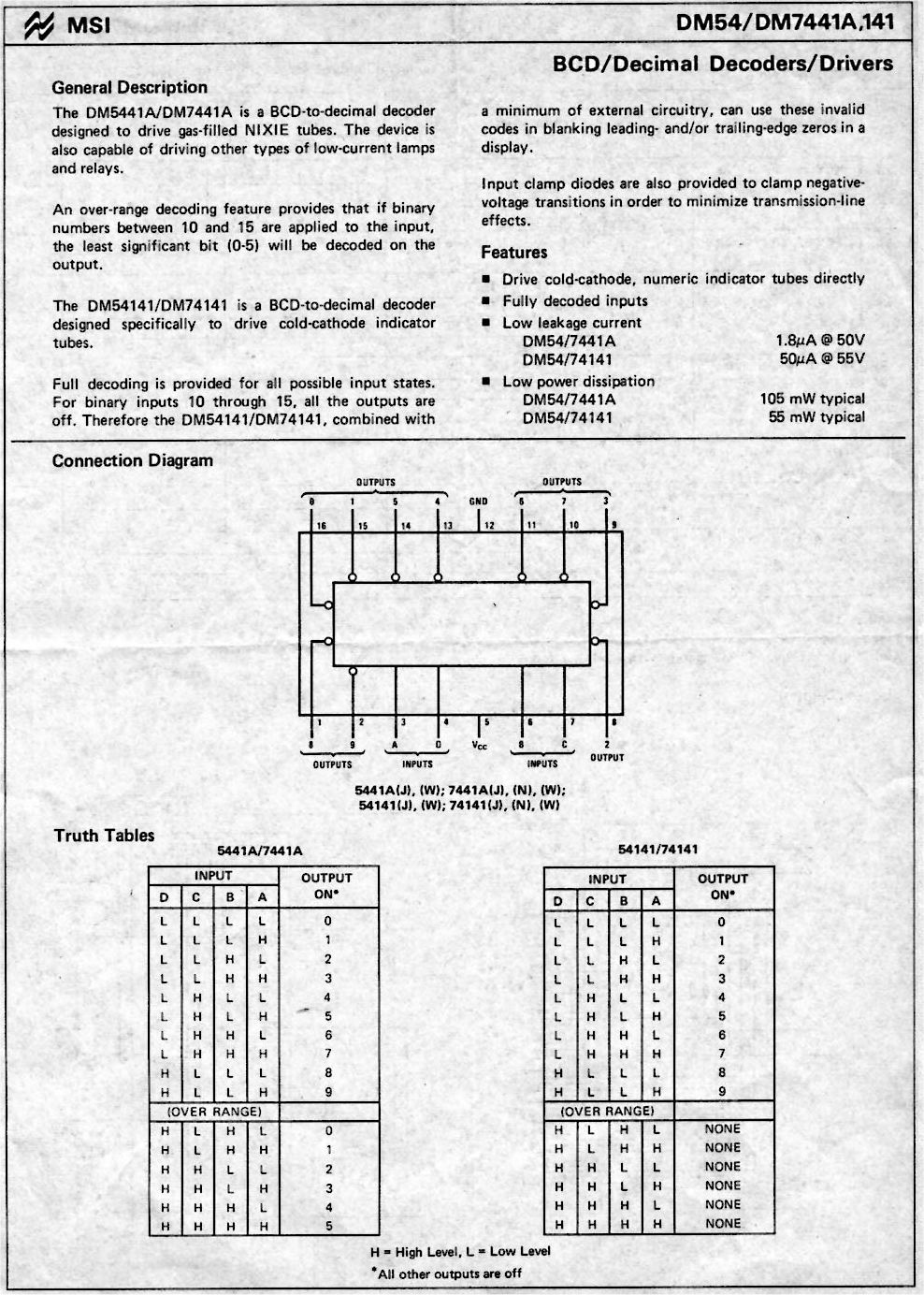 Nixie Tubes Tube Driver Ic 74141 Schematic Page 2 Datasheet 1